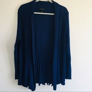 Lane Bryant Navy Pleated Open Front Cardigan